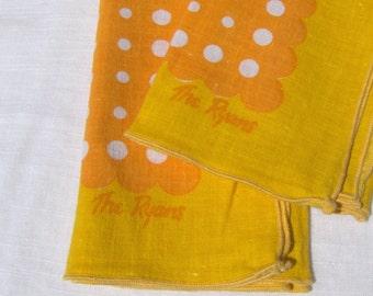 The Ryans Cloth Napkins Vintage Personalized Set Polka Dot Yellow & Orange Polkadot