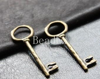 12pcs / Key / Antique Brass Tone / Base Metal Charm (ZB18876//K293)
