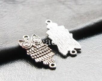 16pcs / Link / Owl / Oxidized Silver Tone (YA13608//D307)