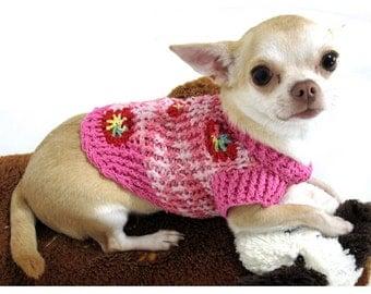 Pink Dog Clothes Cotton Designer Pet Sweater Puppy Cat Kitten Chihuahua  Handmade Knit Flower Unique DK879 Myknitt - Free Shipping