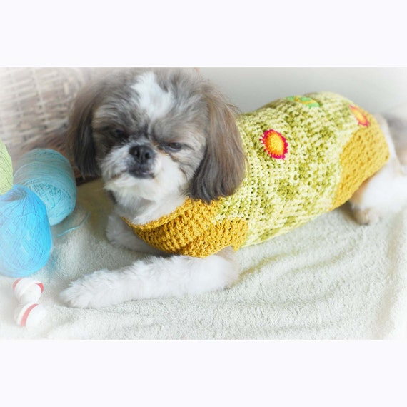 Knitting Pattern For Teacup Dog : Knit Dog Sweater Lime Mint Green Soft Cotton Teacup Chihuahua