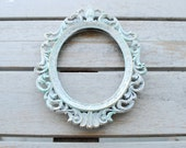 Ornate Brass Frame - Vintage - Distressed - Light Blue - Made in Italy