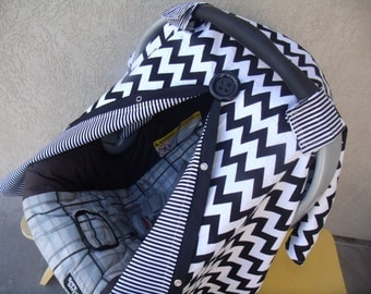 Carseat Canopy Carseat Cover Chevron Stripes Carseat Cover