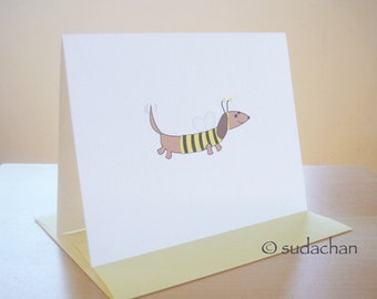 Dachshund Bumble Bee Note Cards (set of 10)