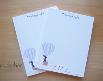 Personalized Notepads - Dachshund in Hot Air Balloon - Black and Tan Dachshund (set of 2)