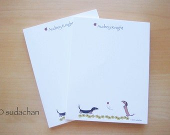 Personalized Dachshund Notepads With Flowers (set of 2)