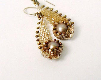 Brown seed bead earrings, beaded freshwater pearl earrings in golden champagne beige, gift for her, spring jewelry - Wave of happiness