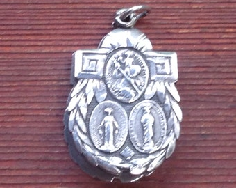 "Jesus, Mary & Saint Christopher Scapular Vintage Double Sterling Silver Medal on 18"" sterling silver rolo chain"