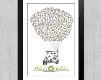 Thumbprint Wedding Guest Book, Golf Cart and Balloons, Guest Book Alternative, Wedding Guest Signature Poster, Custom Colors,  Art Print