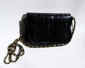 Vintage Black Eel Skin Evening Bag