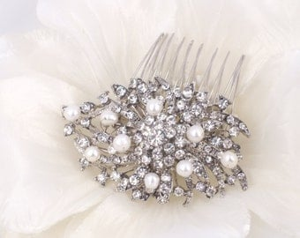 Misty - Rhinestone and Freshwater Pearl Bridal Comb