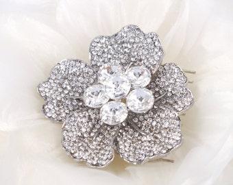 Crystal Camellia - Vintage style Austrian Rhinestone Bridal Hair Comb