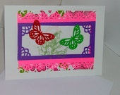 Pretty Pink Flower Butterfly Hearts and Love Greeting Card