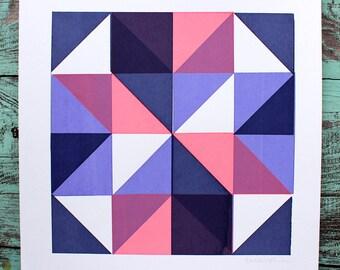 SALE Geometric Quilt Square Screen Print Purple
