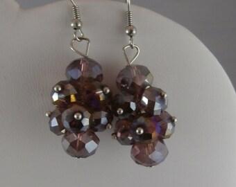Light Purple Glass Czech Bead Cluster Earrings