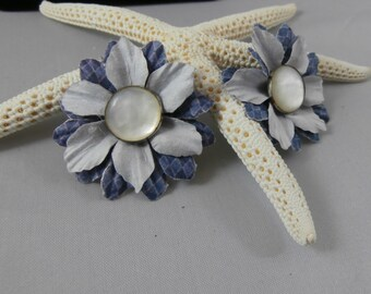 Flower and Pearl Button Post Earrings