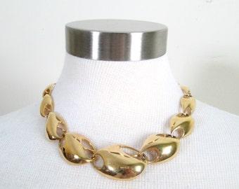 Gold Modernist Necklace Kunio Matsumoto Vintage 1970s Trifari Designer