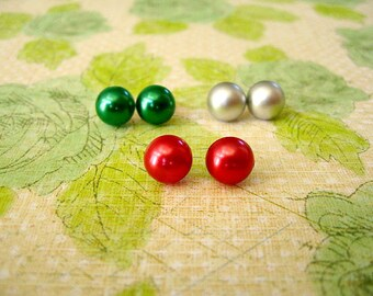 Resin Half Glass Pearl Earrings, Half Pearl Mix Post Earrings, Red, Green, Gray/Grey