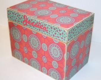 Recipe Box, 4x6 Recipe Box, 4 x 6 Custom Box, You Design It, Handmade Personalized Wood Recipe Card Box, Address File Wedding Guest Book Box