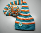 Miami Dolphins/Team Colors Stocking Hat/Long Tail Hat with pom pom/Dolphins hat (fits babies, toddlers, children and adults)