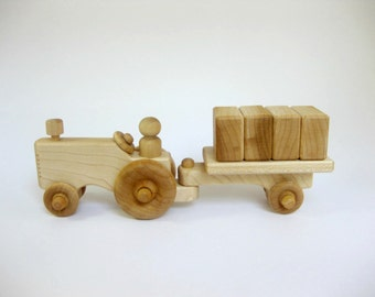 Wooden Toy Tractor with Wagon and Blocks, wood kids toy