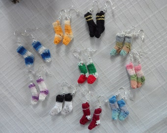 Christmas Sock Earrings Knit Sock Earrings, Multi Color Sock Earrings School Color Sport Sock Earrings