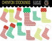 Printable Chevron Christmas Stocking Clipart Chevron Stocking Digital Clip Art Red and Green Chevron Stocking Instant Download