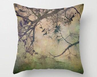 Pillow Cover, Autumn Tree Photo Pillow, Pine Cone Tree Pillow, Nature Throw Pillow, Living Room Decor, Bedroom Decor, 16x16,18x18,20x20