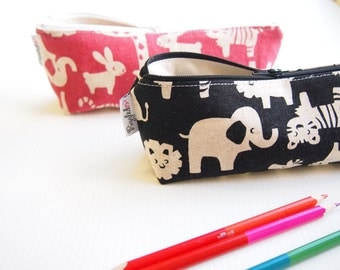 Zippered Pencil Case / Pouch - Black Zoo Animals