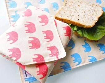 Sandwich Wrap with Waterproof Nylon Lining - Pink Elephant