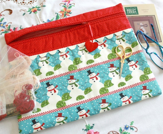 Christmas Rows of Snowmen Cross Stitch, Sewing, Embroidery Project Bag