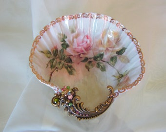 Vintage Roses Large Shell Jewelry Dish