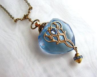 Vintage Inspired Brass Filigree And Swarovski Rhinestone Blue Heart Perfume Bottle Necklace