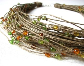 Autumn green yellow brown orange raindrops - linen necklace