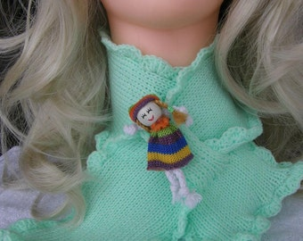 Scarf   cowl neck warmer for little girls with doll