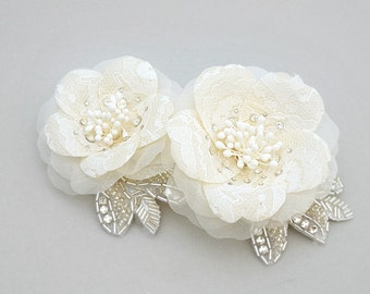 Lace, Crystal Wedding Headpiece Bridal Headpiece Flower Bridal Hair Piece Wedding Hair Piece Bridal Hair Accessory Swarovski Crystal