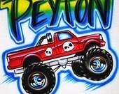 Airbrush T Shirt with Monster Truck Custom Name Favorite Colors, Airbrush Monster Truck, Monster Truck Shirt, Truck Shirt, Airbrushed Truck