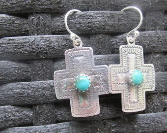 Stamped Santa Fe Southwestern Cross Turquoise Earrings Kingman Turquoise and Sterling Silver