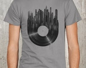 Vinyl Record with Grunge Cityscape - Men's Screen Printed T-Shirt - Available in S, M, L, XL and 2XL