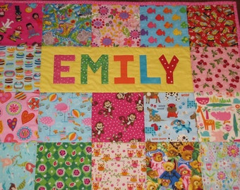 Baby Quilt with NAME Custom order I spy quilt, Girl or Boy,  One of a kind, Amazing Baby Gift, Handmade
