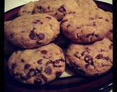 Gluten Free Vegan Chocolate Chip Cookies - 1 dozen, vegan cookies, Gluten Free, chocolate chip cookies