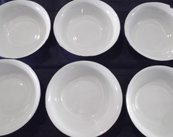 antique ENAMELWARE CHINESE BOWS, set of 6, white , blue trim, home decor, housewares, cottage chic