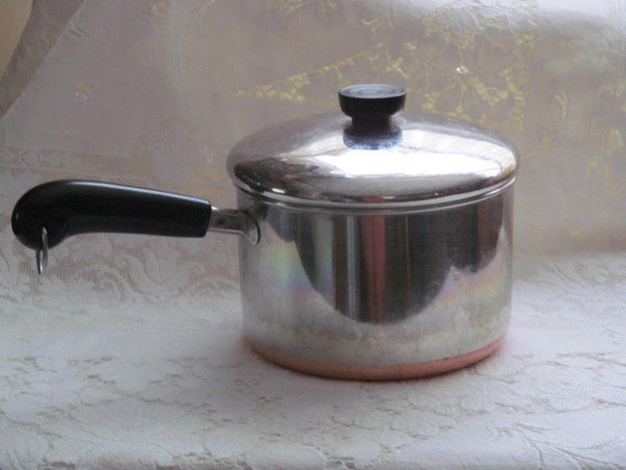 Vintage Revere Ware Copper Bottom 3 Quart Pot With Lid