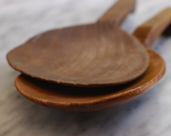 Antique Primitive Wooden Butter Paddle Spoon