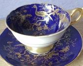 Antique Coalport English tea cup set, blue and gold tea cup and saucer, bird tea cup, bone china tea set,  blue tea cup, antique tea cup