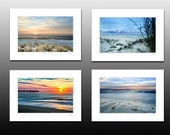 Beach Sunrise Collection, Set of four small matted prints, Blue decor, each fit a 5x7 inch frame, Buy as a set and save