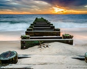 Ocean Sunrise 5x7 Photography Print, Seascape Beach Art, Delaware Beach, Cubicle Decor