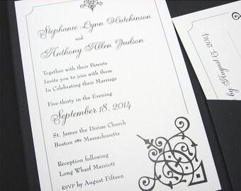 Wedding Invitation Pocketfold Black White Elegant Scroll Motif Custom Classic Traditional