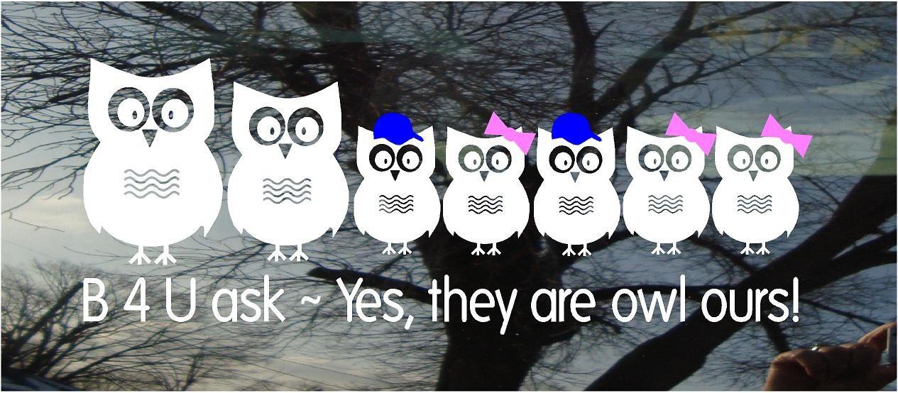 Car Decal Owl Family Vinyl Window Decal Owl Family H X W - Owl custom vinyl decals for car