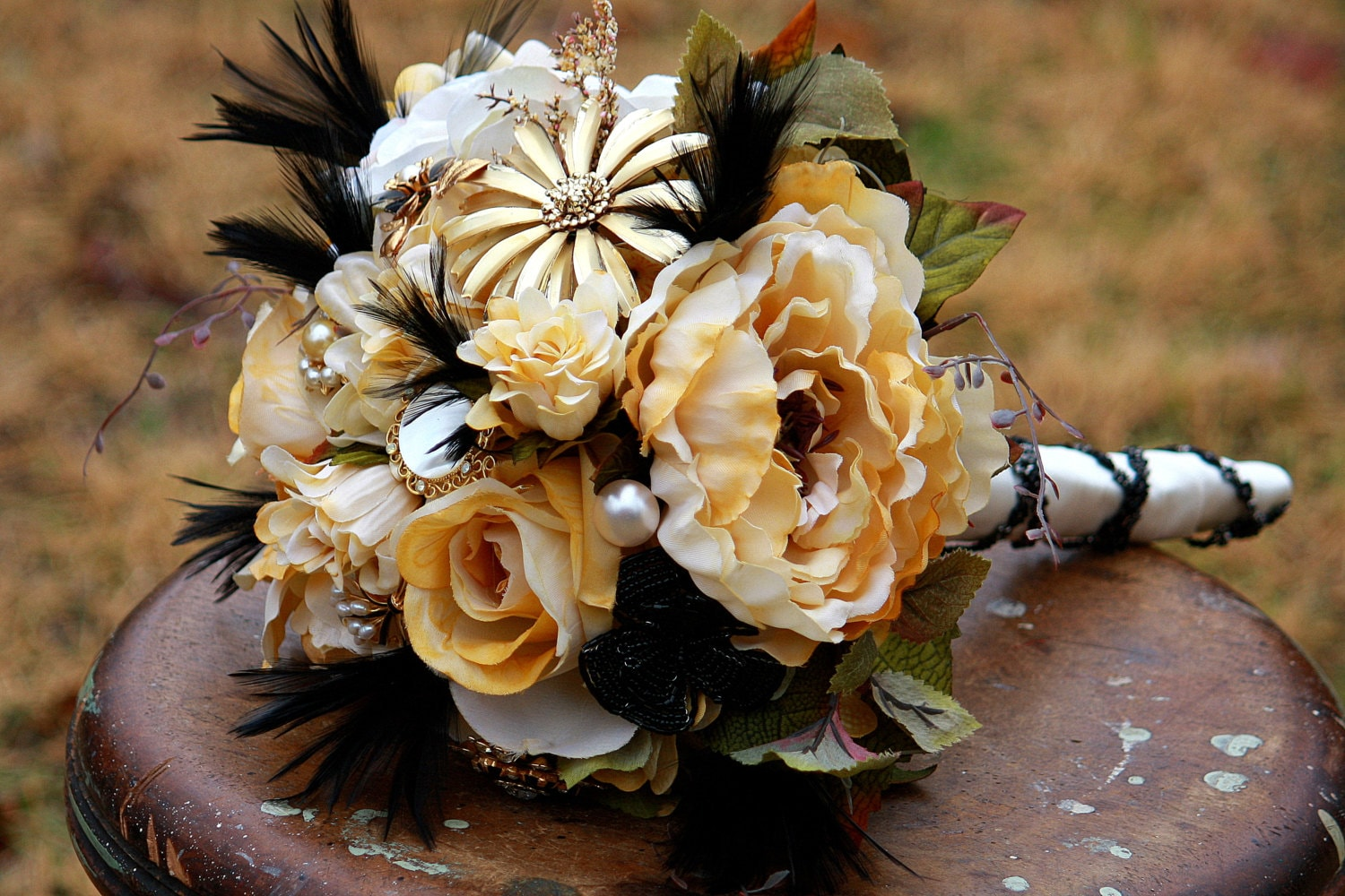 Brooch Bouquet Gold Ivory Black Rustic Bouquet Feathers Bridal
